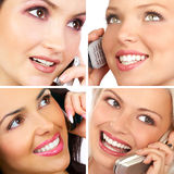 Women with cellular. Attractive young women calling by cellular phone Stock Photo
