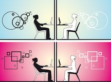 Women chatting. In different sitting positions Stock Photography