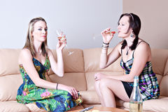Women chatting over cheese and wine Royalty Free Stock Photo