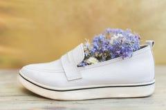 Women& x27 ; chaussures blanches de s et fleurs blanches et pourpres à l'intérieur Photographie stock libre de droits