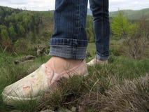 Women& x27 ; chaussures de s sur l'herbe Image stock