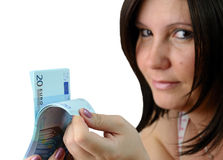 Women check euro money Stock Photo