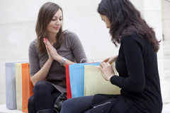 Women checking the shopping Royalty Free Stock Photography