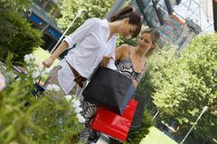 Women checking their shopping bags. Stock Photography