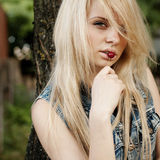 Women with cherry. Cherry woman fruit portrait human female lips Royalty Free Stock Images