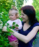 Women with a child against summer nature Royalty Free Stock Photo