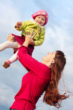Women with child outdoor Stock Image