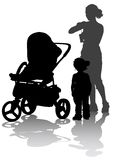 Women and child with sidecar. Drawing mother with children. Silhouettes on a white background Royalty Free Stock Image