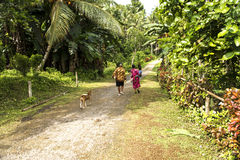 Family on way through rainforest West Papua Royalty Free Stock Photography