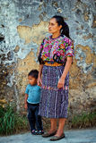 Women with child wearing traditional mayan clothes Stock Image