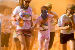 Women and children participating in the Color Run in Prague Stock Images