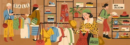 Women choosing and buying stylish clothes at clothing store or apparel boutique. Female customers purchasing trendy. Garments at shop. Fast fashion and mass vector illustration