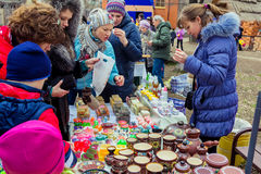 Women choosing cream during Shrovetide Celebration in Zaporizhia royalty free stock image
