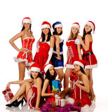Women in Christmas costumes Royalty Free Stock Photos