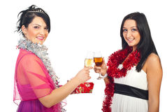 Women at Christmas party toasting stock image