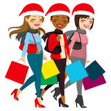 Women Christmas Sales Shopping Stock Image