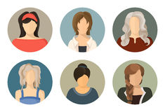 Women circle avatar icon set. 6 pieces Royalty Free Stock Photography