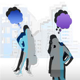Women in the city. Background with construction and silhouette Royalty Free Stock Image