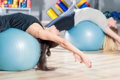 Women classes in a group with gymnastic balls Stock Photos
