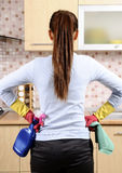 Women after cleaning the house royalty free stock photography