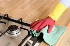 Women cleaning the house Royalty Free Stock Photos