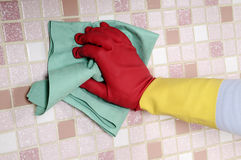 Women cleaning the house Stock Photo