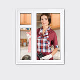 Women cleaning a window Royalty Free Stock Images