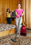 Women are cleans  in home Royalty Free Stock Images