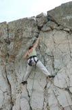 Women climber 2. Women climber hanging on cliff stock photos