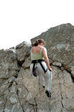 Women climber 4. Women repelling down cliff stock photography