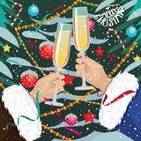 Women clink glasses near Christmas tree outdoors. Women in fur coats clink glasses near Christmas tree outdoors stock illustration