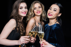 Women clinking glasses with champagne and looking at camera. Happy women clinking glasses with champagne and looking at camera Stock Photos
