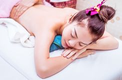 Women with closed eye is relaxing in Spa Bed. Women with closed eye is relaxing in Spa Massage Bed stock image