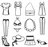 Women clothes and accessories summer icon set Royalty Free Stock Photography