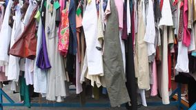 Women clothes hanging stock video