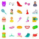Women clothes icons set, cartoon style. Women clothes icons set. Cartoon set of 25 women clothes vector icons for web isolated on white background Royalty Free Stock Image
