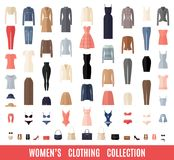 Women Clothes Icons Set in Flat style. Royalty Free Stock Image
