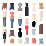 Women Clothes Icons Set in Flat style. Royalty Free Stock Photo