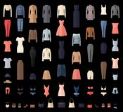 Women Clothes Icons Set in Flat style. Stock Photos