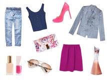 Women clothes set isolated.Fashion wear collage. royalty free stock photography