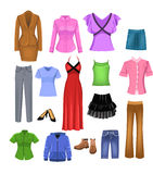 Women clothes. Vector women clothes collection, on a white background Stock Images