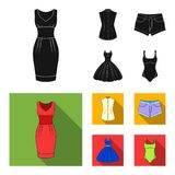 Women Clothing black,flat icons in set collection for design.Clothing Varieties and Accessories vector symbol stock web. Women Clothing black,flat icons in set Royalty Free Stock Image