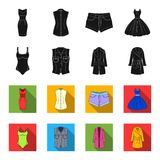 Women Clothing black,flet icons in set collection for design.Clothing Varieties and Accessories vector symbol stock web. Women Clothing black,flet icons in set Stock Photo