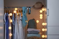 Women clothing on hangers. In wardrobe Stock Photography