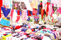 Women clothing outdoor market stall Stock Images