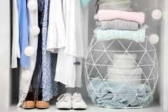 Women clothing and shoes. In wardrobe stock photography
