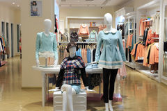 Women clothing store in tesco market Royalty Free Stock Photos