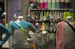 Women clothing sweater christmas balls stock image