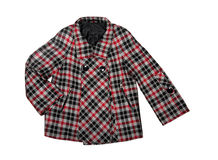 Women coat. Women checkered coat on a white background Royalty Free Stock Images