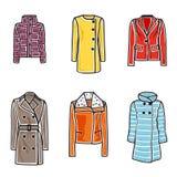 Women coats icon set. Vector illustration of women coats on white background Stock Image